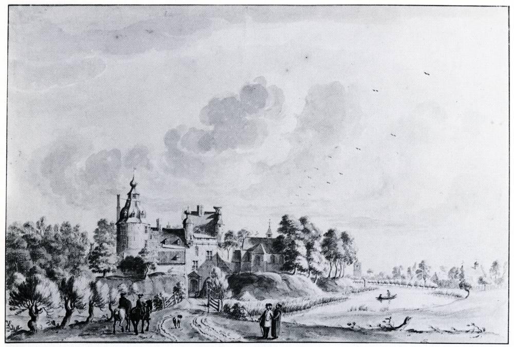 Kasteel Boxmeer in Boxmeer. Tekening Jan de Beijer, 1741